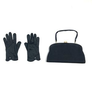 Vintage Satin Clutch Purse & Gloves Set 50s 60s